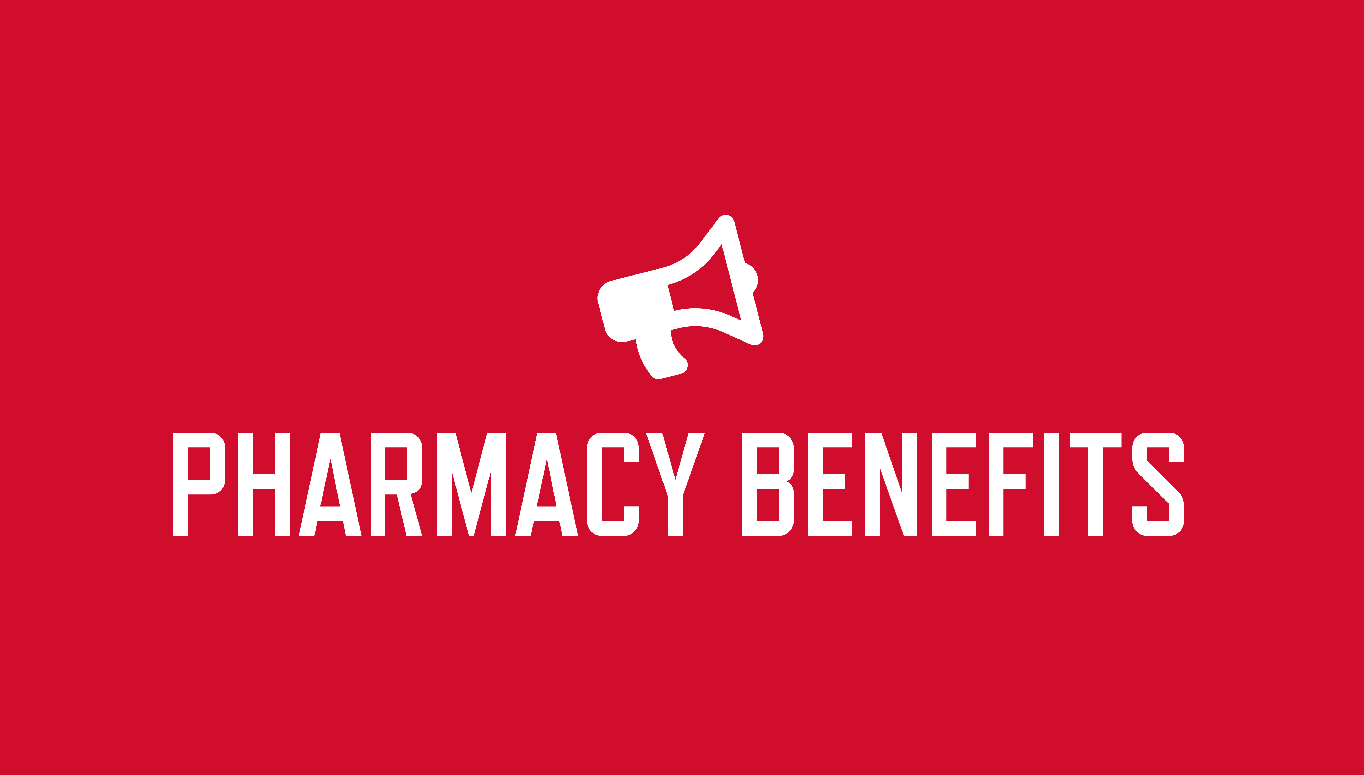 red background and pharmacy benefits text