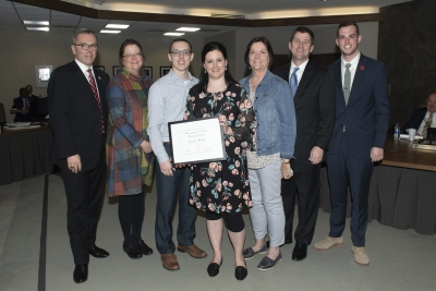 Chancellor Green; Priscilla Hayden-Roy, Supervisor and Associate Dean; Cody Bodfield, husband; Jennifer Bodfield, recipient; Becky Lehmer, mother; President Bounds; Regent Traynor