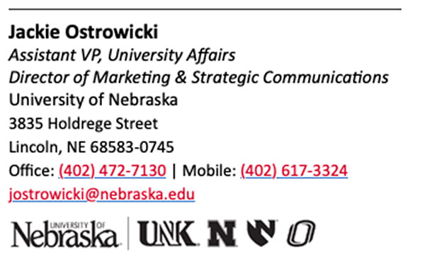 example email signature of Jackie Ostrowicki