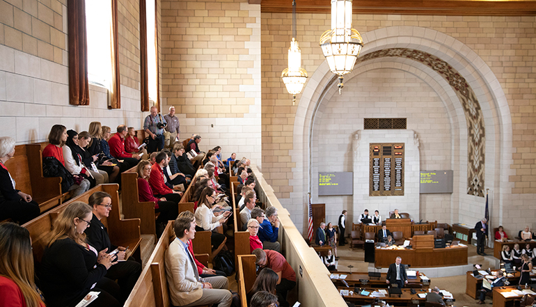 I love NU day participants seated on the balcony at the state capitol