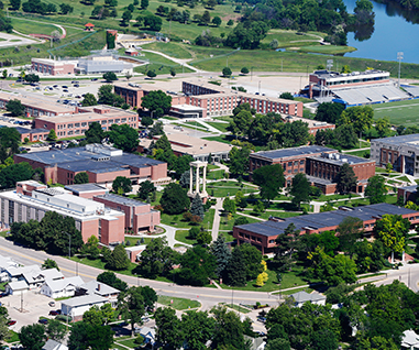 Aerial shot of UNK campus