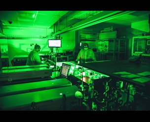 Laboratory bathed in green light